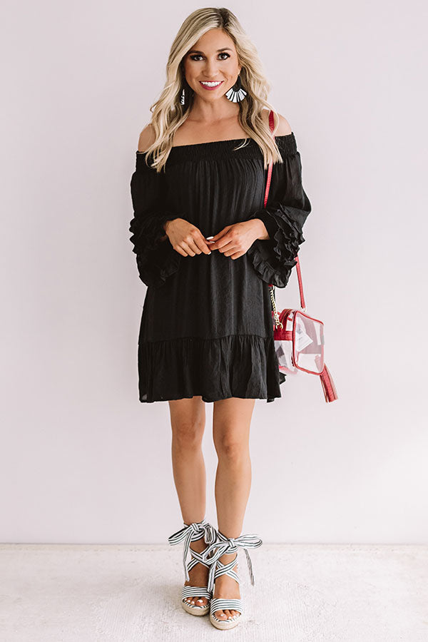 Sweet Sippin' Shift Dress In Black