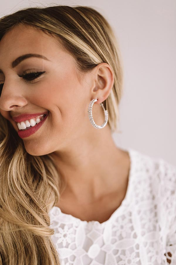 Set For Success Hoop Earrings In Silver