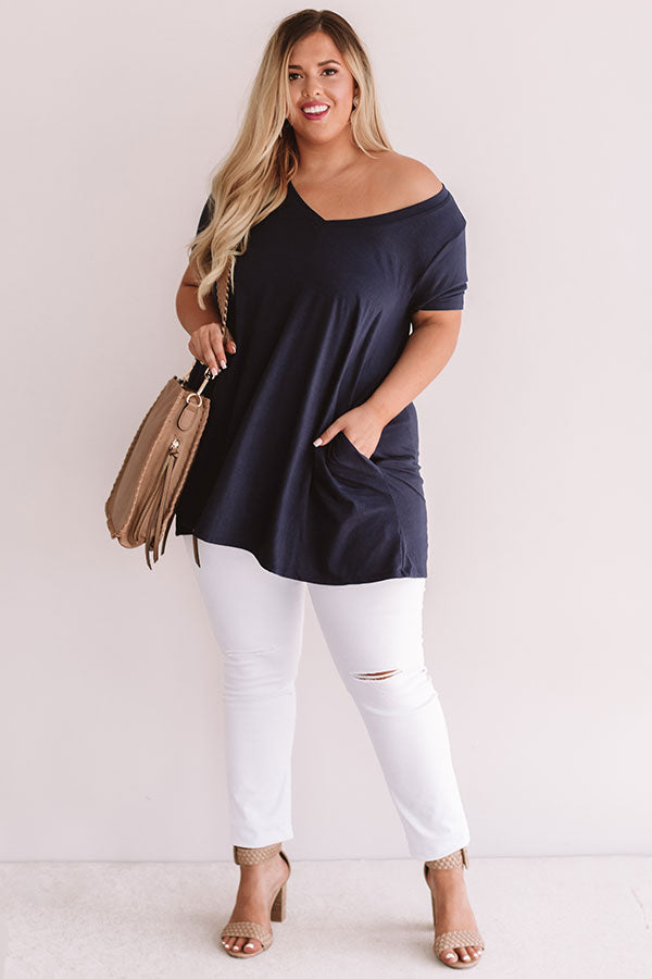 Down, Set, Chic T-Shirt Dress in Navy