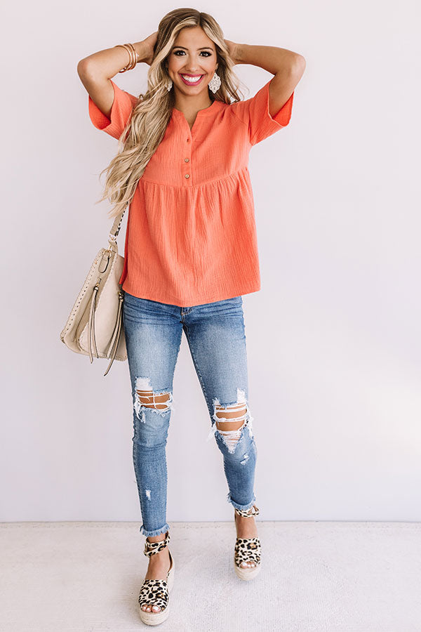 Bellini Brunch Henley Top In Coral