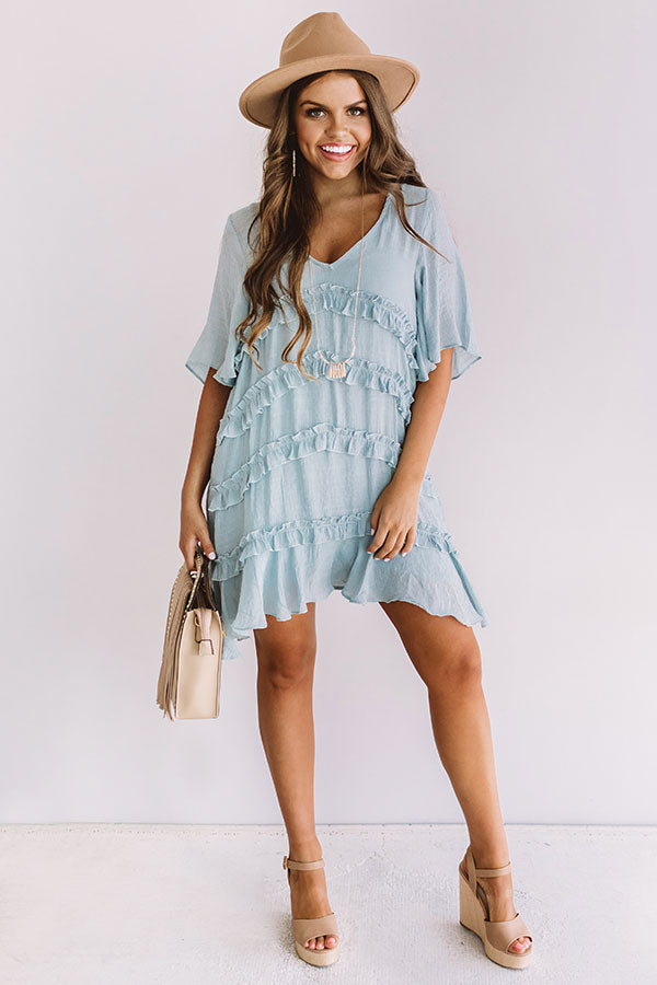 Denver Coffee Date Shift Dress In Light Airy Blue