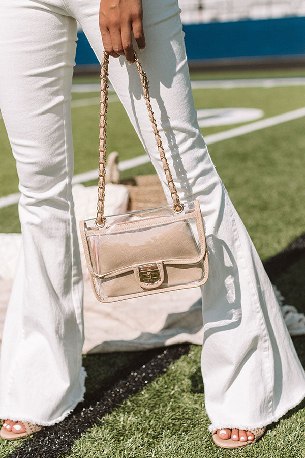 Chic Aspirations Transparent Crossbody In Beige