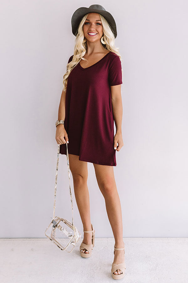 Down, Set, Chic T-Shirt Dress In Maroon