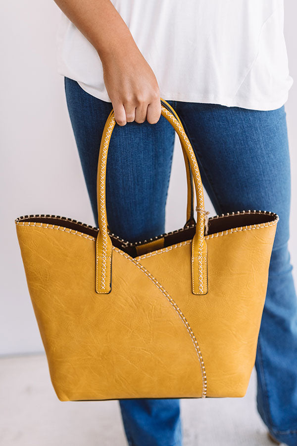 Weekend In NYC Faux Leather Tote In Mustard