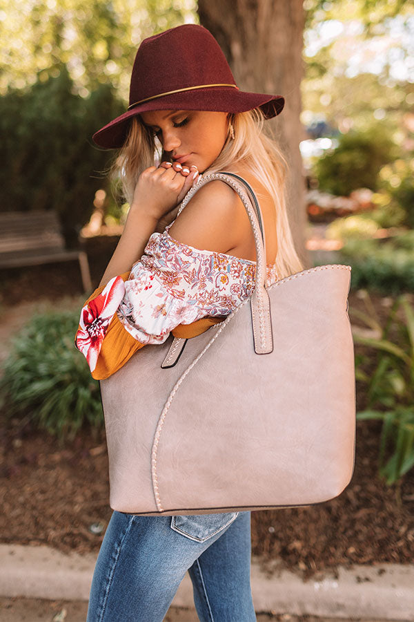 Weekend In NYC Faux Leather Tote In Taupe