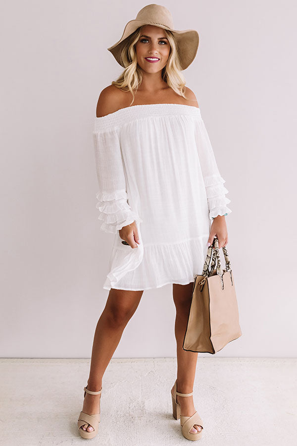 Sweet Sippin' Shift Dress In White