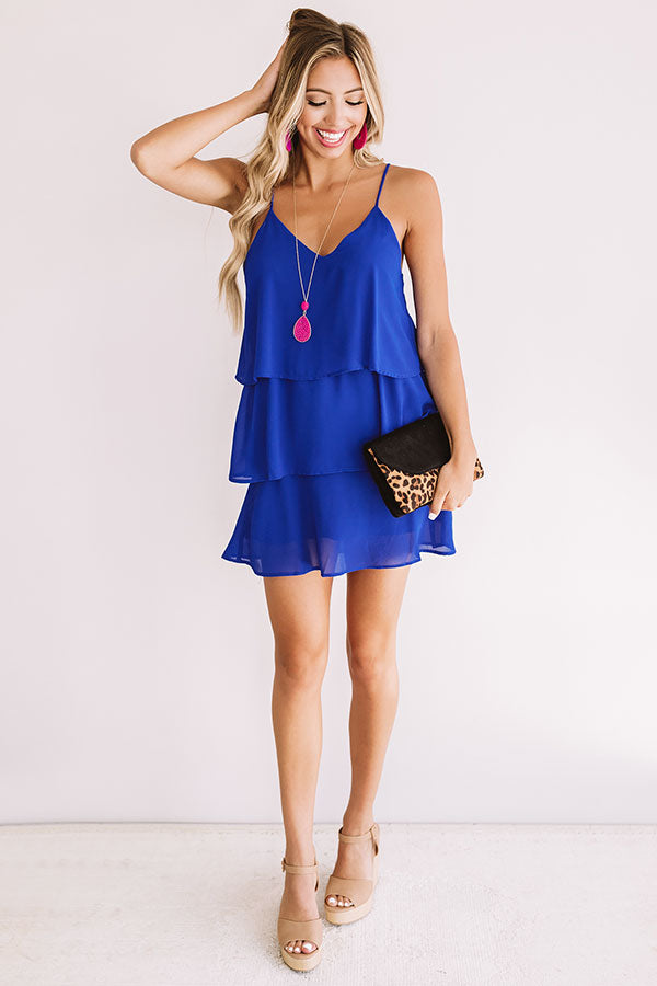 Exclusive After Party Tier Dress In Royal Blue