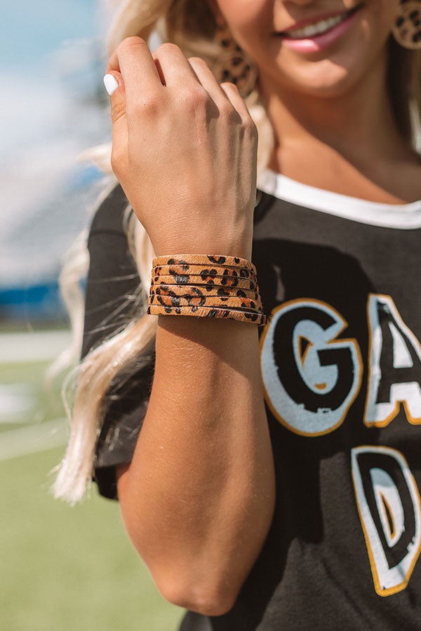 Adventure Abroad Leopard Bracelet In Brown