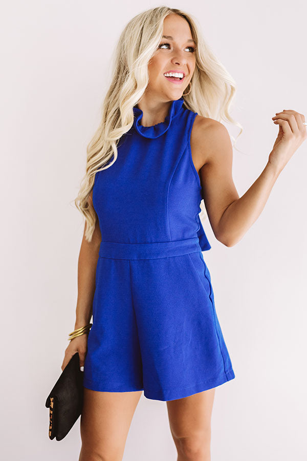 Flirty First Date Romper In Royal Blue