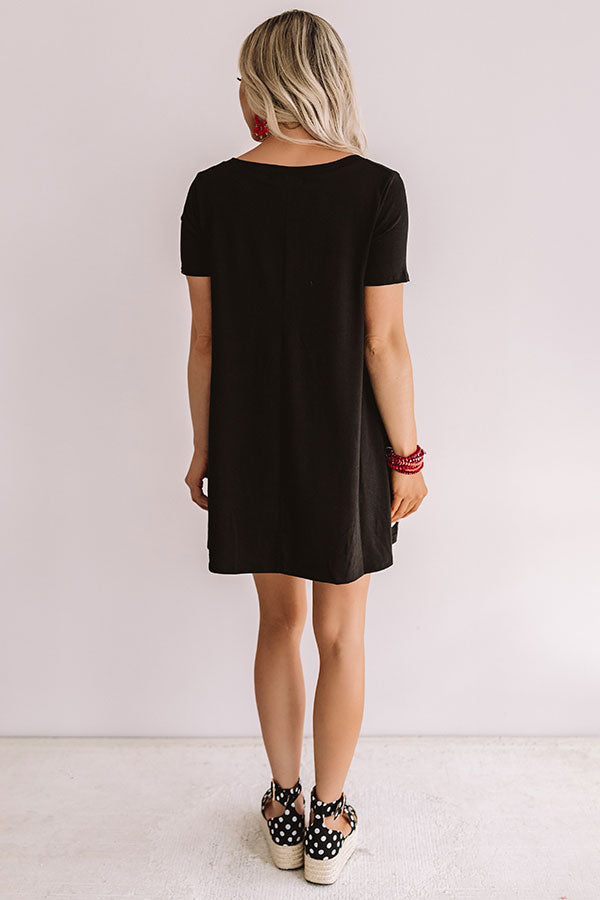 Down, Set, Chic T-Shirt Dress In Black