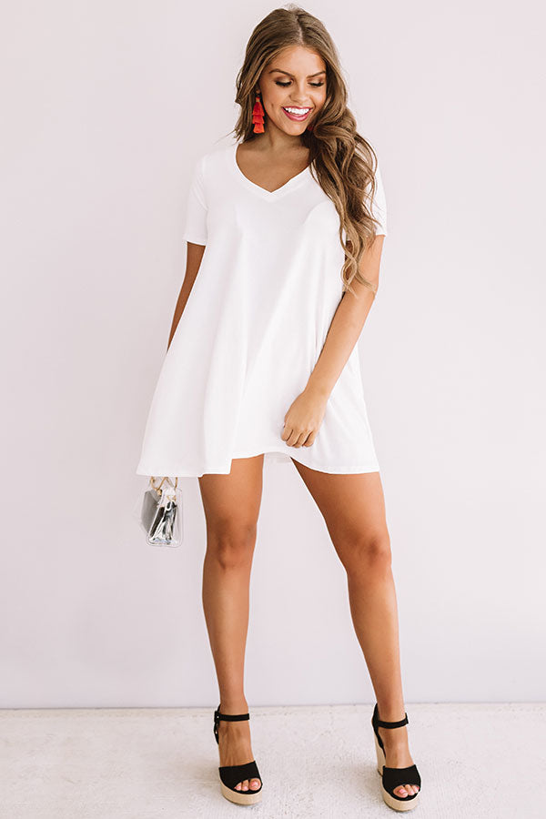 Down, Set, Chic T-Shirt Dress In White