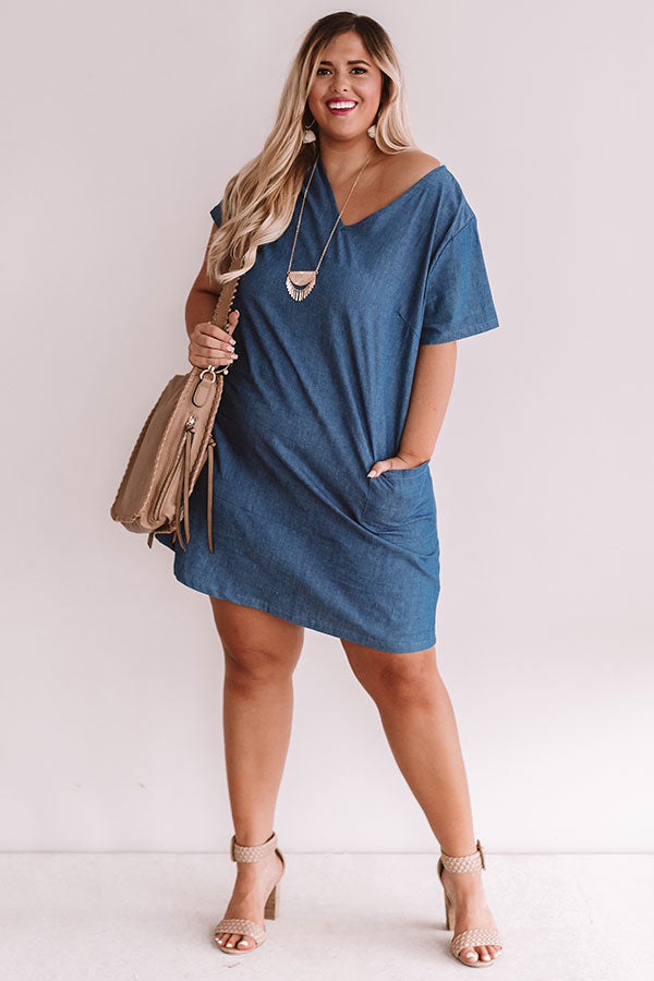 Pier Party Chambray Shift Dress In Medium Wash