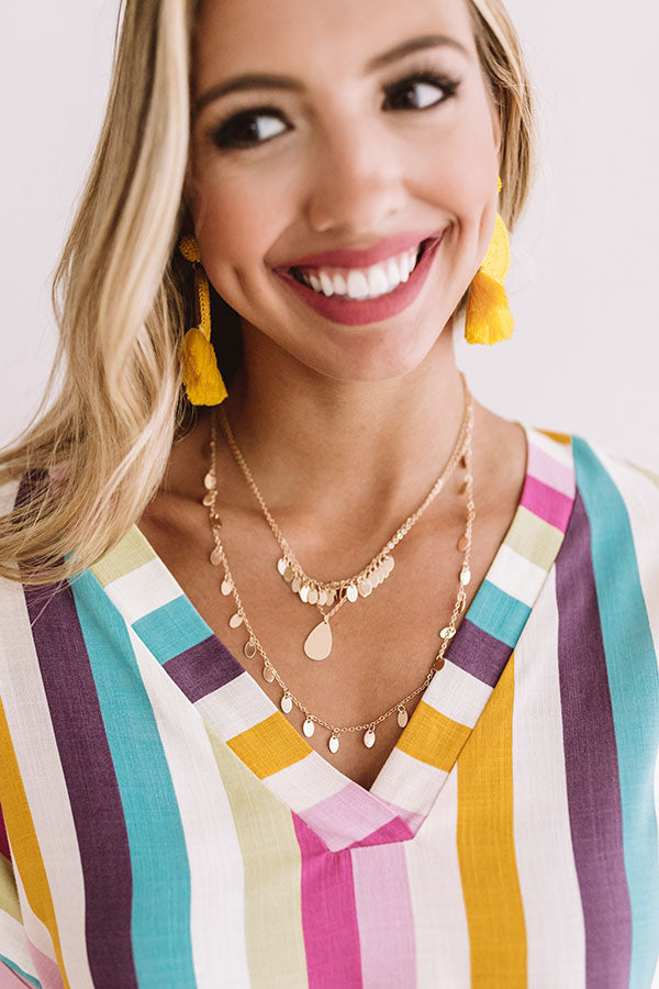 Take It To The Beach Layered Necklace In Gold