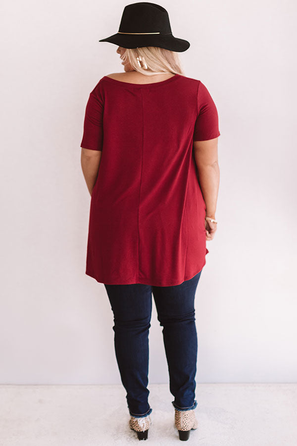 Down, Set, Chic T-Shirt Dress In Wine