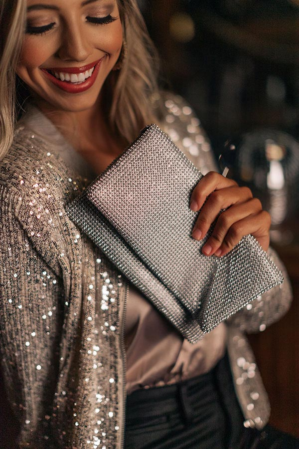 Shimmer In Style Rhinestone Clutch In Silver