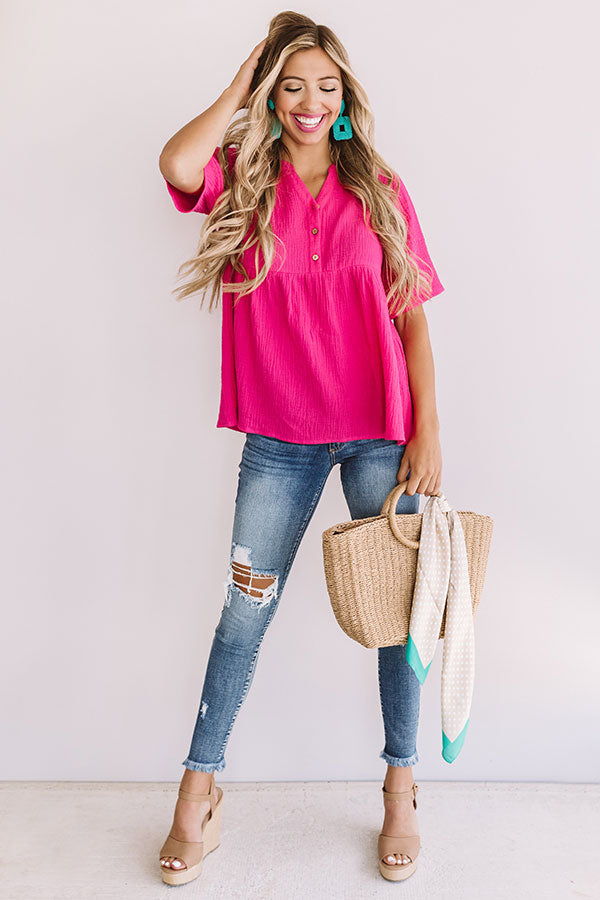 Bellini Brunch Henley Top In Hot Pink