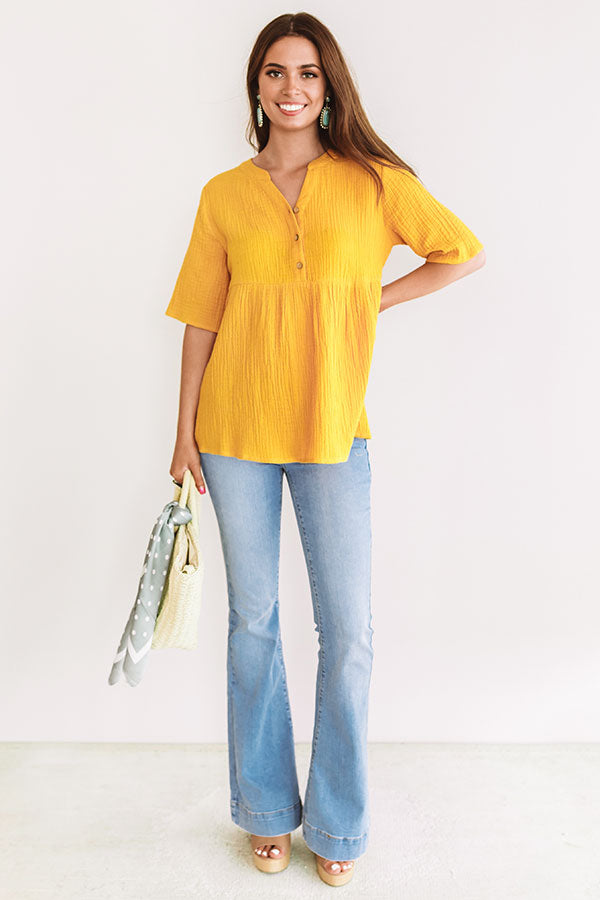 Bellini Brunch Henley Top In Primrose Yellow