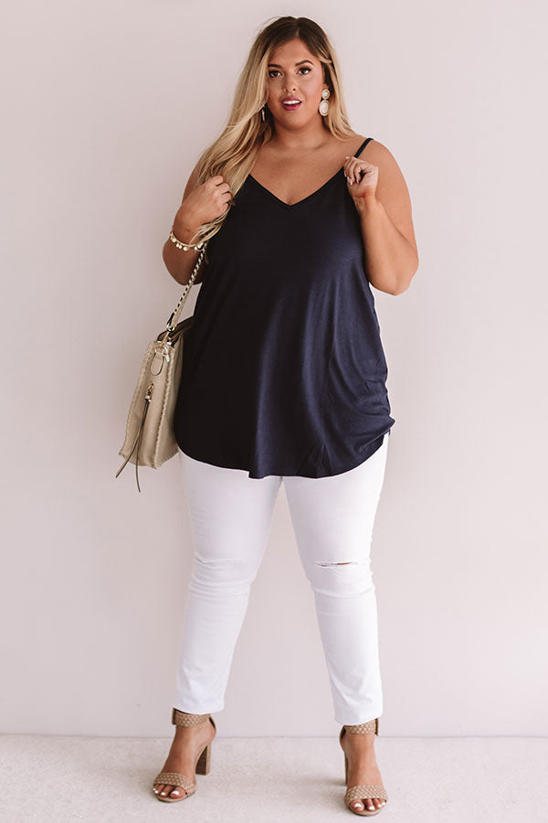 Kisses On The Coast Shift Tank In Navy