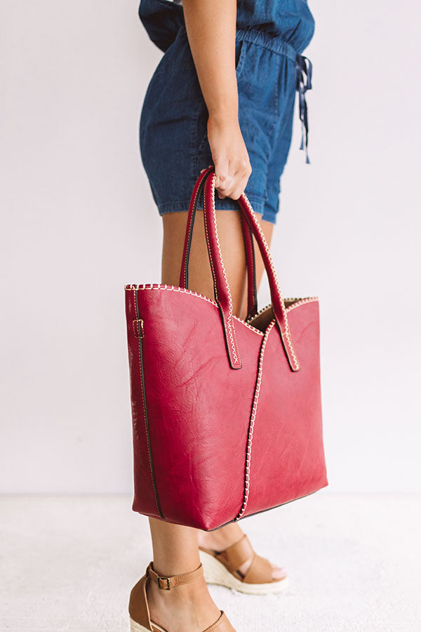 Weekend In NYC Faux Leather Tote In Red