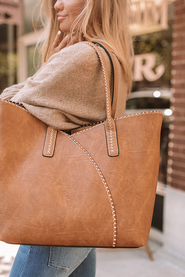 Weekend In NYC Faux Leather Tote In Tan
