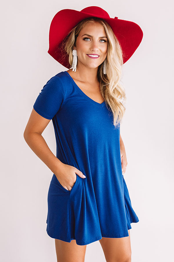 Down, Set, Chic T-Shirt Dress In Royal Blue