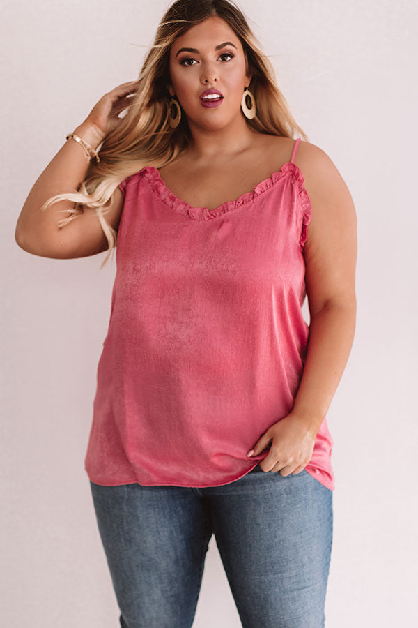Inner Glow Satin Shift Tank in Pink