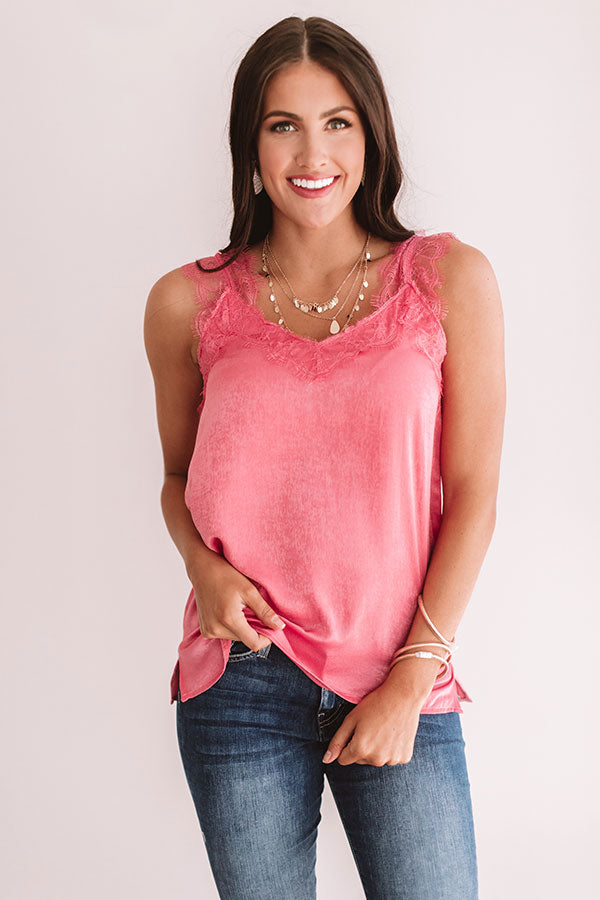 Express Yourself Lace Shift Tank in Pink