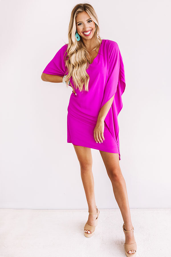 Travel Guide Shift Dress In Fuchsia