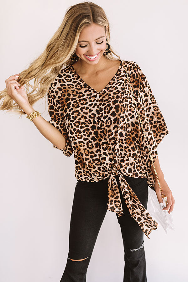 Charm School Leopard Tie Top