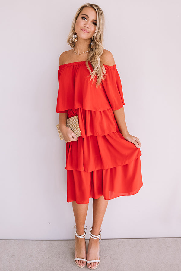 European Romance Tier Dress In Red
