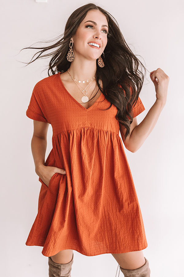 Rooting For You Babydoll Dress in Rust