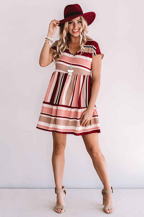 Stripes And Kisses Babydoll Dress