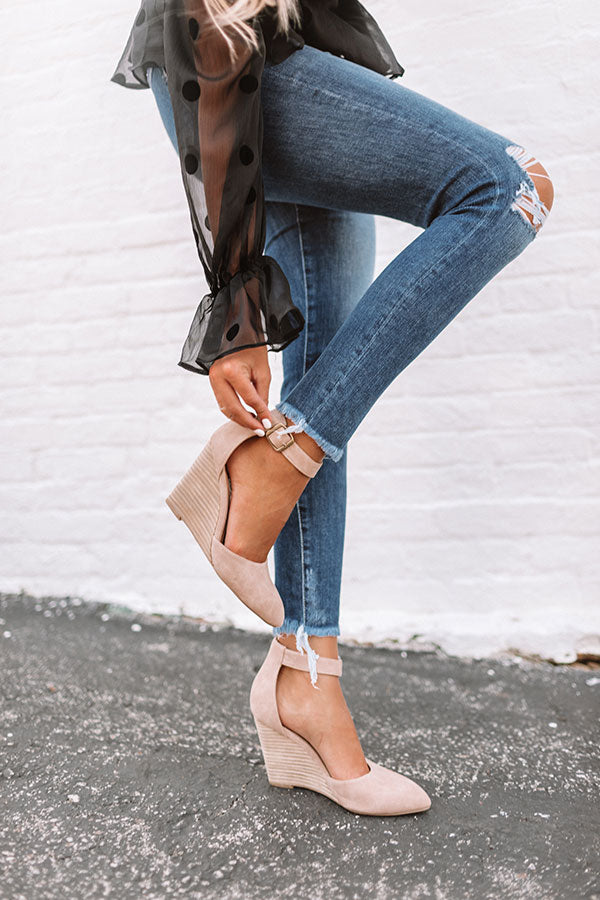 The Seraphina Faux Leather Wedge in Taupe