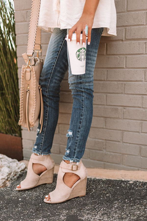 The Scout Faux Suede Peep Toe Wedge in Iced Latte