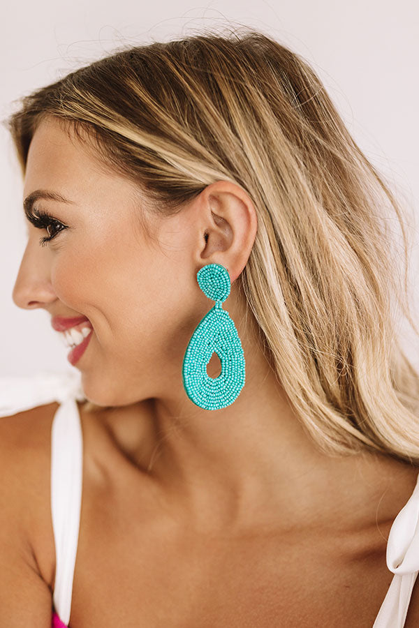Coachella Valley Sun Beaded Earrings In Turquoise