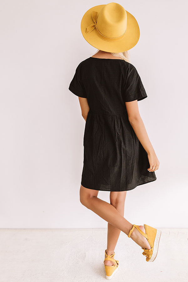 Rooting For You Babydoll Dress in Black