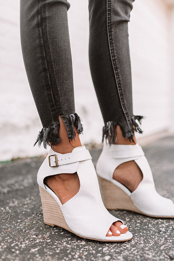 The Scout Faux Suede Peep Toe Wedge in Stone