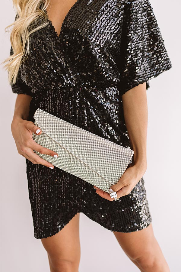 Hollywood Happenings Rhinestone Clutch in Rose Gold