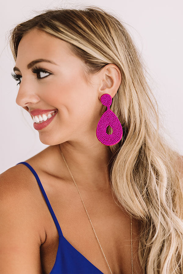 Coachella Valley Sun Beaded Earrings In Fuchsia