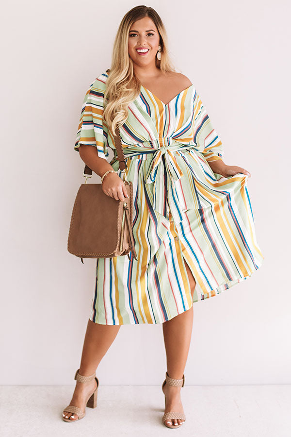 Cooler With Coladas Stripe Midi in Green