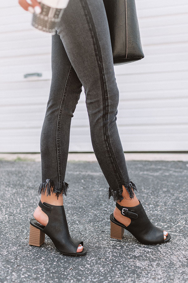 The Pryor Faux Leather Peep Toe Bootie