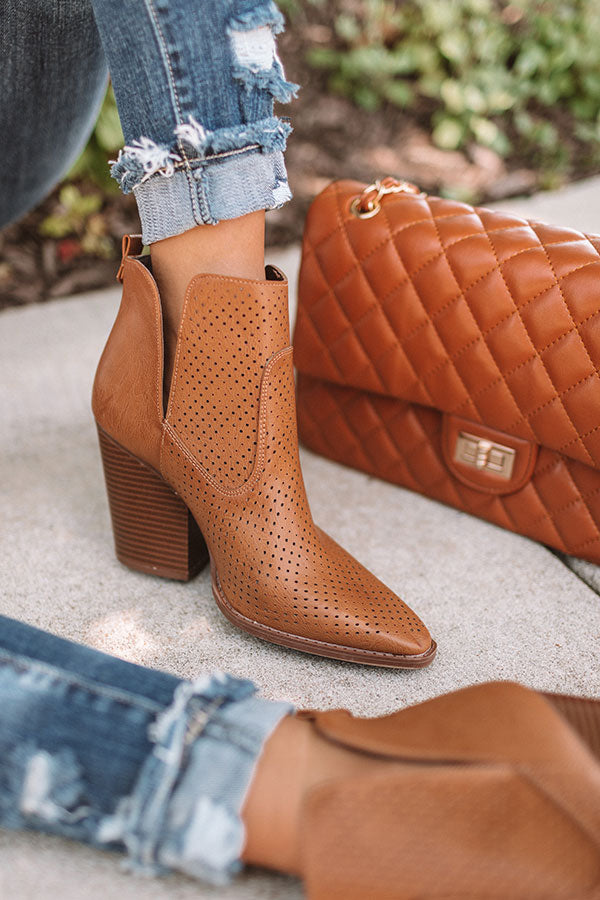 The Franco Perforated Bootie In Brown