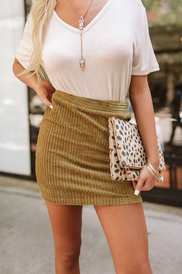 Weekend in NYC Ribbed Velour Skirt in Ecru Olive