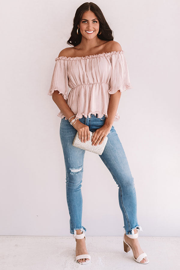 Weekend Happy Hour Off Shoulder Top In Blush