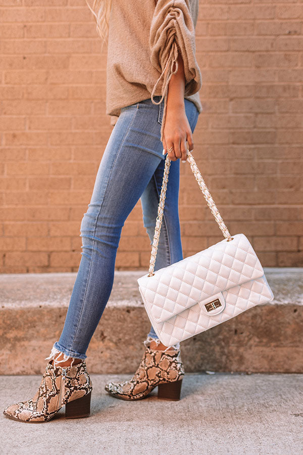 Set For Success Quilted Crossbody In White