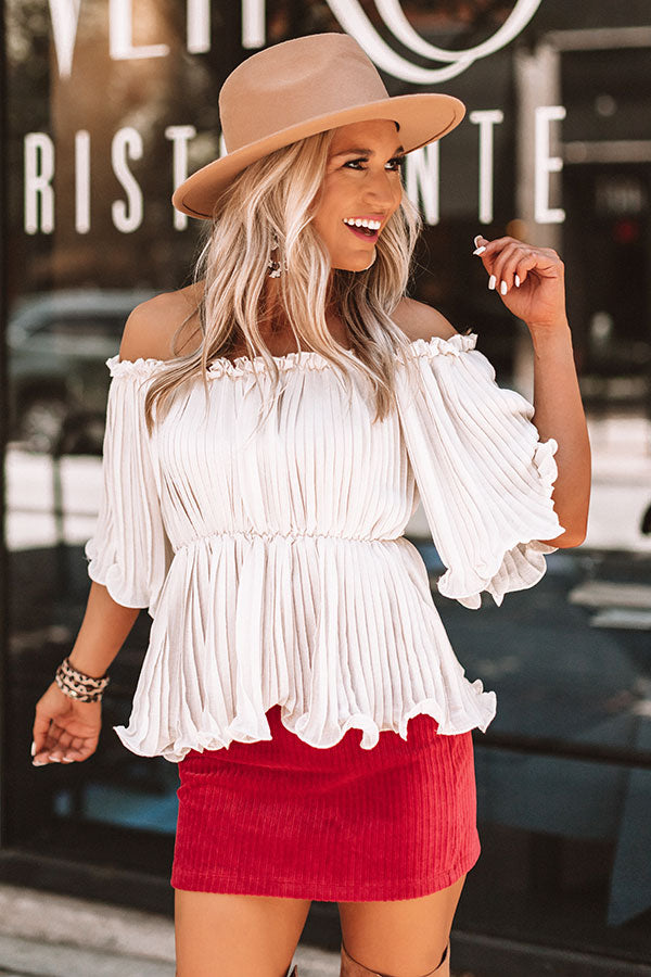 Weekend Happy Hour Off Shoulder Top In Ivory