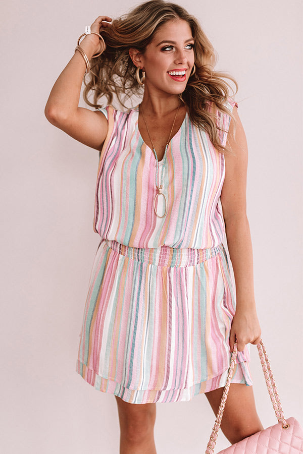 Swirls And Kisses Stripe Dress In Pink