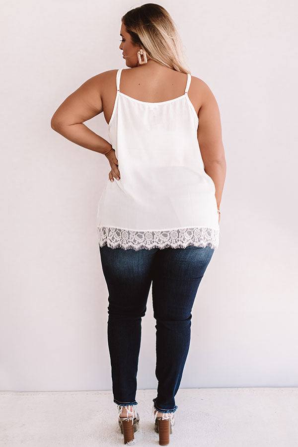 Time For Romance Lace Trim Tank in Ivory