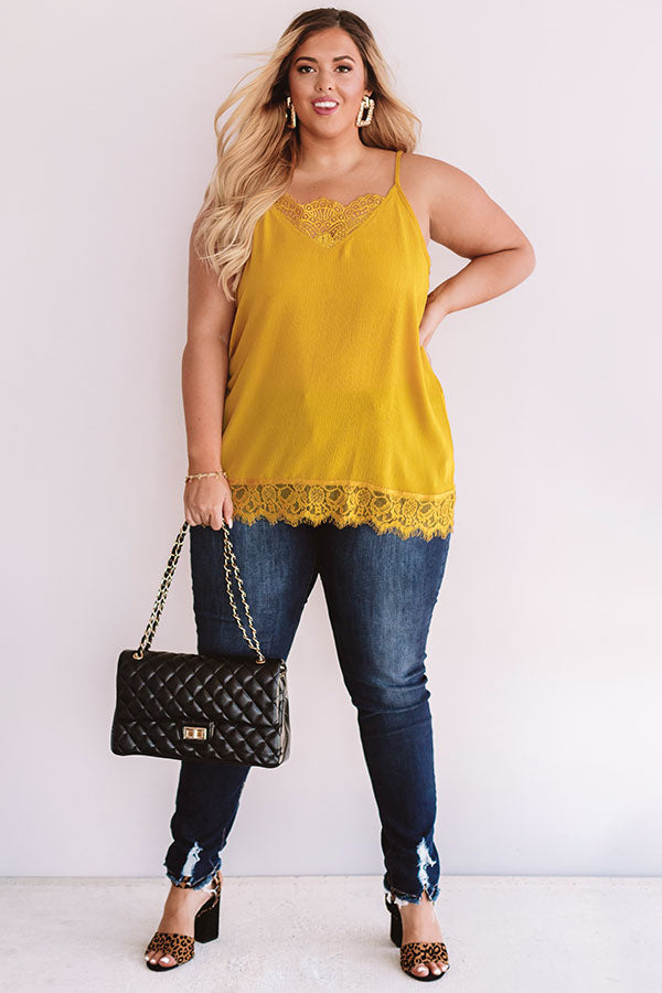 Time For Romance Lace Trim Tank in Mustard