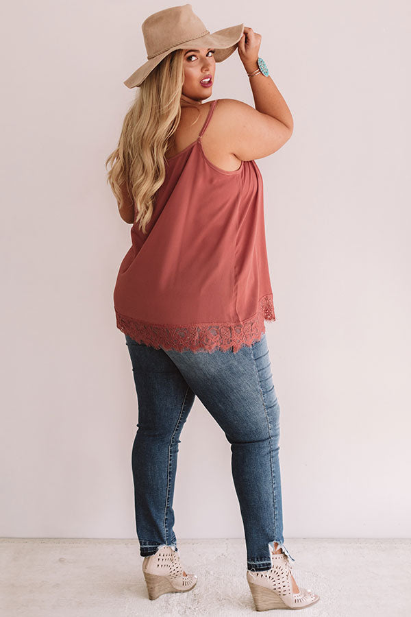 Time For Romance Lace Trim Tank in Dark Blush